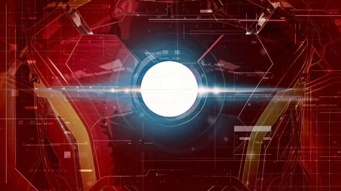 Iron Man, lines, glowing, red background, costumes, interfaces, The Avengers, superhero, technology, Avengers Age of Ultron