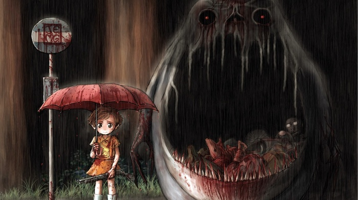 rain, gore, Studio Ghibli, Totoro, My Neighbor Totoro, horror, blood, fan art