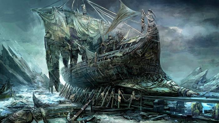 anchors, abandoned, artwork, rock, sea, sailing ship, ship, painting, clouds
