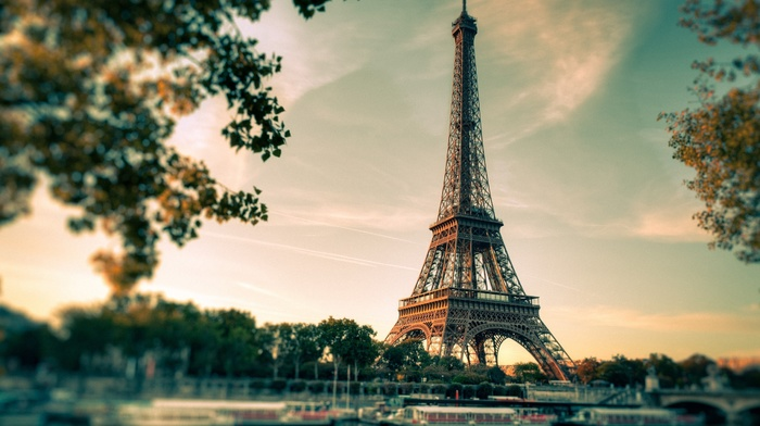 blurred, trees, boat, filter, tower, France, architecture, branch, Eiffel Tower, Paris