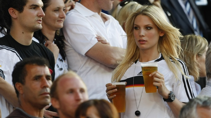 Sarah Brandner, beer, sports jerseys, Germany, blonde, model, soccer