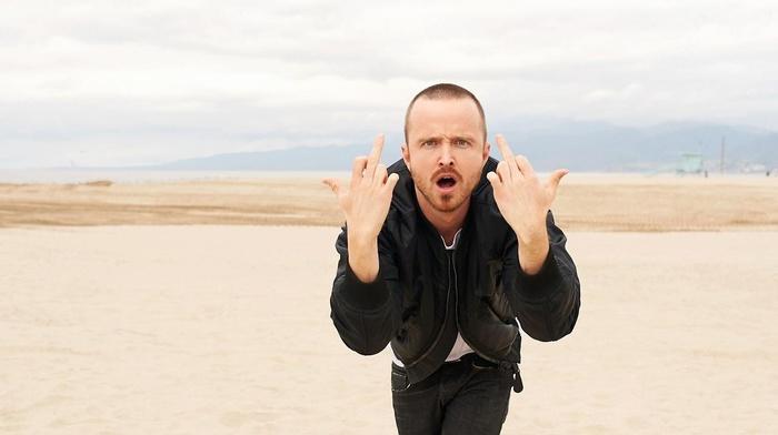 Breaking Bad, desert, middle finger, Aaron Paul, Jesse Pinkman, men