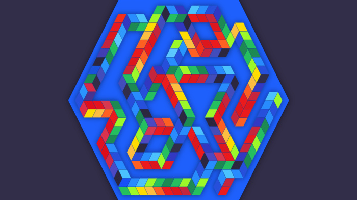 digital art, abstract, hexagon, colorful, optical illusion, cube, 3D, minimalism, blue, simple background
