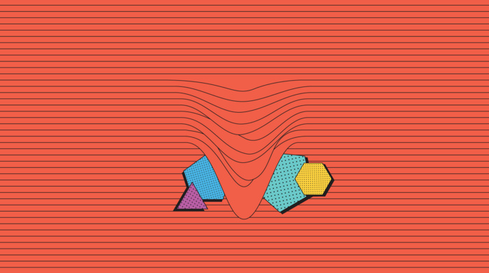 vertical lines, Com Truise, triangle, dots, digital art, abstract, minimalism, red background, hexagon, geometry
