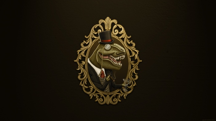 glasses, suits, T, Rex, minimalism, brown background, dinosaurs, digital art, top hats, cigars, picture frames, simple background