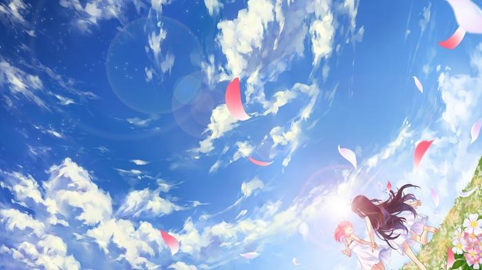 anime girls, Mahou Shoujo Madoka Magica, anime, twintails, flower petals, long hair, clouds, sky, flowers, Akemi Homura, Kaname Madoka