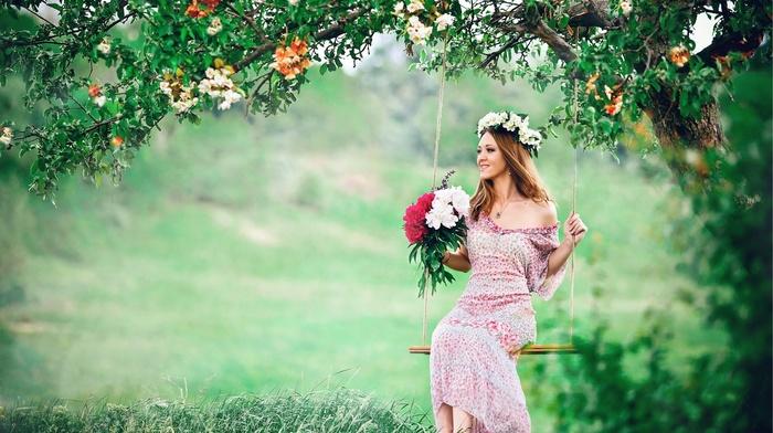 brunette, nature, trees, girl outdoors, Asian, swings, flowers, dress, sitting, grass, long hair, flower in hair, model, girl