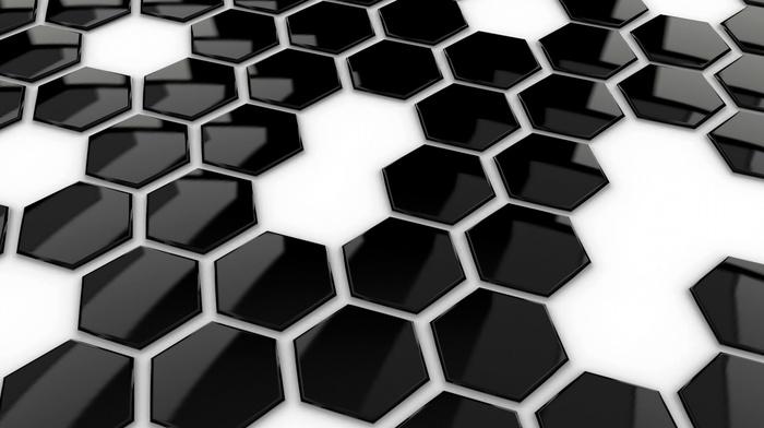geometry, reflection, hexagon, monochrome, digital art, white background, abstract, minimalism, pattern