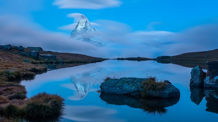 reflection, long exposure, clouds, Switzerland, nature, mountain, landscape, rock, hill, lake, water