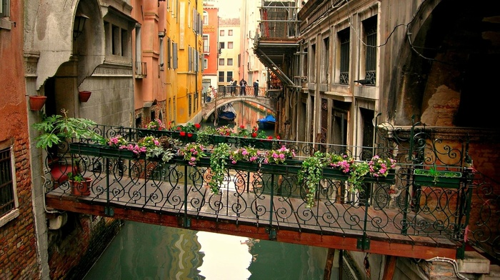 cityscape, Venice, canal, house, bridge, boat, architecture, town, reflection, Italy, window, flowers, building, water