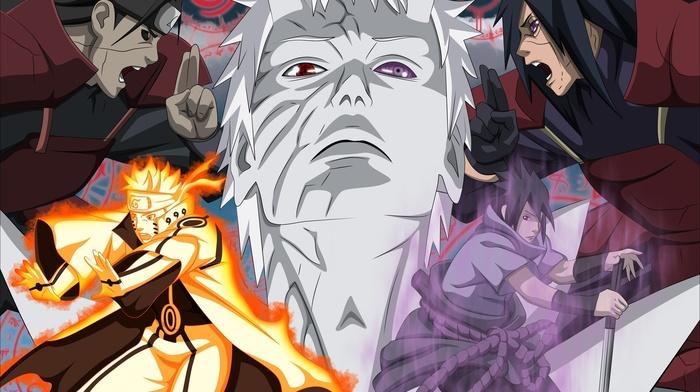 Hashirama Senju, Uchiha Sasuke, anime, Uzumaki Naruto, Rinnegan, Uchiha Madara, Naruto Shippuuden