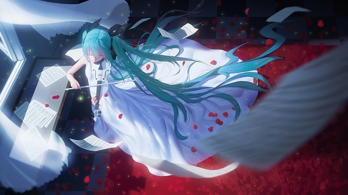 ribbon, flower petals, dress, twintails, paper, Hatsune Miku, long hair, anime, Vocaloid, violin, anime girls