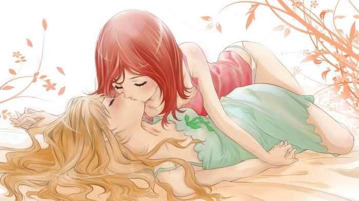 yuri, kissing, closed eyes, kingdom hearts, Kairi, Namine Kingdom Hearts, anime, artwork