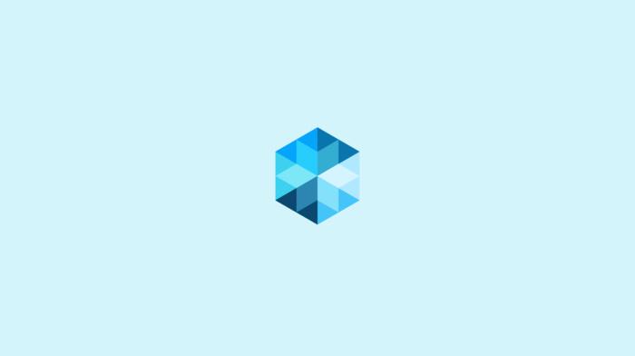 geometry, simple background, diamonds, abstract, blue, digital art, triangle, minimalism, cube, hexagon