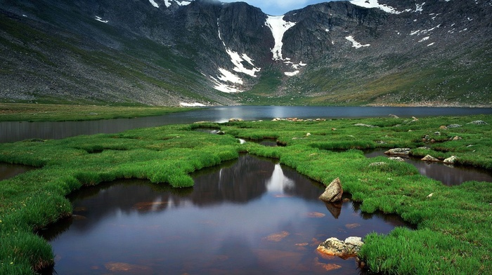 USA, snow, reflection, lake, mountain, Montana, water, rock, nature, clouds, landscape, grass, Glacier National Park