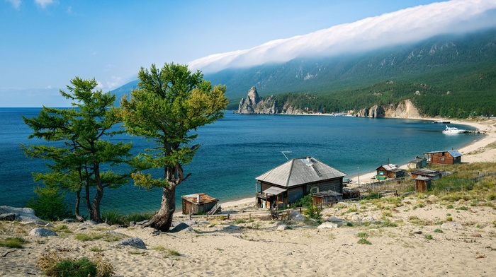 water, mist, landscape, Lake Baikal, lake, house, mountain, forest, beach, clouds, nature, boat, sand, Russia, trees