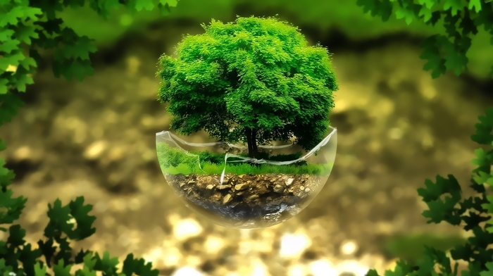 rock, broken, floating island, glass, digital art, plants, leaves, trees, sphere, green, grass, nature