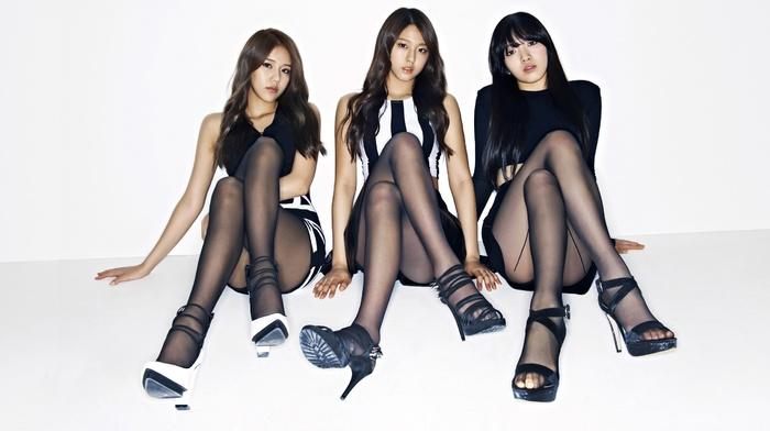 skirt, high heels, group of girl, white  background, girl, bangs, sitting, brunette, black stockings, stockings, AOA, simple background, Hyejeong, dress, Nylon, Seolhyun, legs, legs  crossed, K, pop, Asian