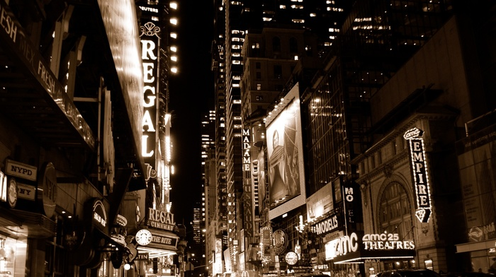 night, sepia, street, signs, architecture, theater, theaters, USA, New York City, movie poster, cityscape, skyscraper, building, street light