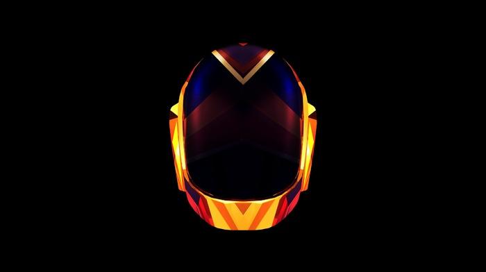 orange, Daft Punk, digital art, black, music