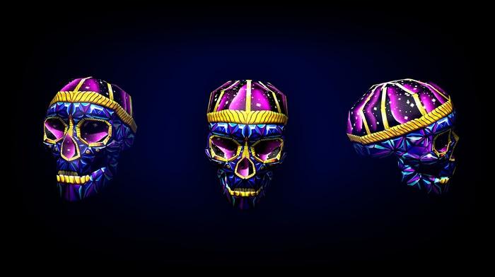 purple, 3D, stars, low poly, minimalism, geometry, colorful, blue, skull, digital art, yellow