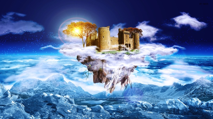 mountain, sunlight, clouds, floating island, rock, lake, fantasy art, trees, digital art, roots, castle, architecture