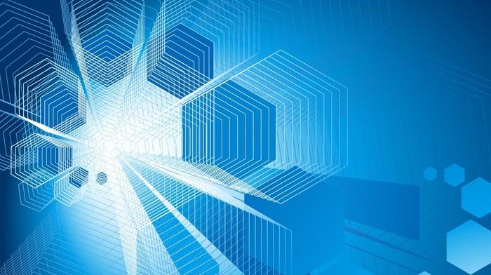 geometry, artwork, digital art, abstract, hexagon, blue background, simple background