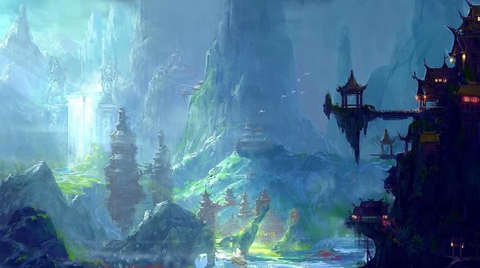Asian architecture, oriental, fantasy art