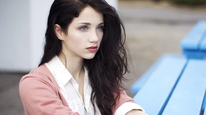 windy, brunette, blue eyes, long hair, emily rudd, sensual gaze, actress, looking away, girl