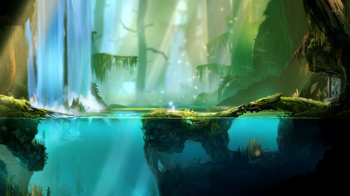 swamp, fantasy art, underwater, trees, mist, sunlight, video games, split view, waterfall, Ori and the Blind Forest, water, forest, digital art, roots, rock