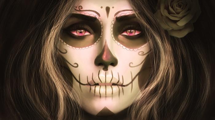 sugar skull, Santa Muerte, filter