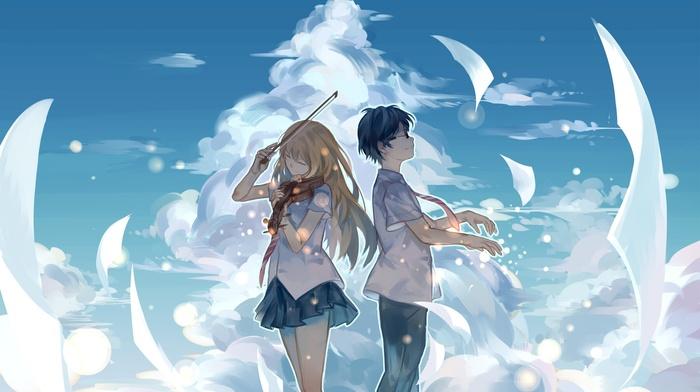 Arima Kousei, sky, clouds, Shigatsu wa Kimi no Uso, violin, Miyazono Kaori