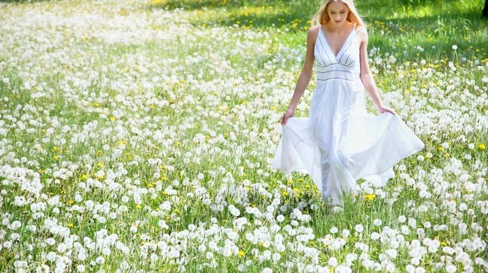 blonde, looking down, girl, girl outdoors, model, long hair, field, flowers, white dress, dandelion