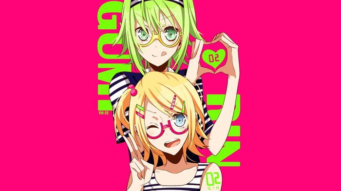 glasses, anime, anime girls, Kagamine Rin, Vocaloid, Megpoid Gumi, pink background