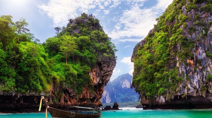 sea, boat, island, coast, landscape, nature, rock