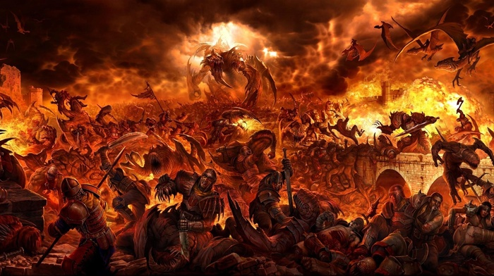 digital art, sword, fantasy art, soldier, creature, dragon, clouds, warrior, battle, fire