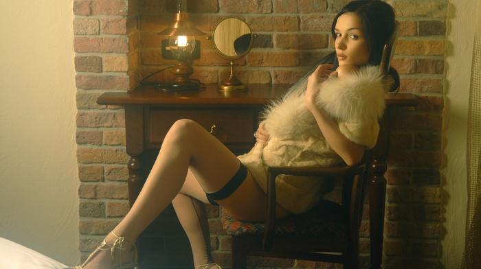 long hair, fur, chair, bedrooms, Jenya D, girl, bricks, model, lingerie, stockings, looking at viewer, sitting, brunette, Katie Fey, high heels