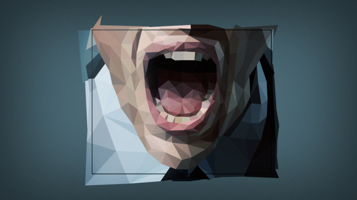 open mouth, face, low poly, digital art, simple