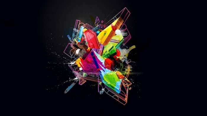 abstract, minimalism, splashes, digital art, 3D, glowing, geometry, colorful