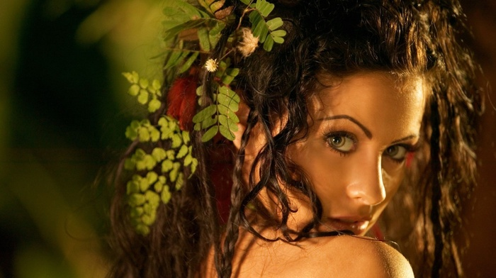 girl, brunette, open mouth, face, long hair, model, curly hair, girl outdoors, leaves, looking at viewer