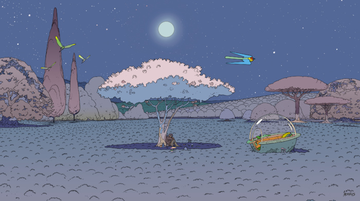 Mbius, night, comics, artwork, trees