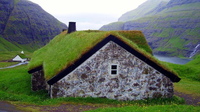 clouds, faroe islands, house, grass, waterfall, mountain, nature, old building, water, green, landscape, rooftops