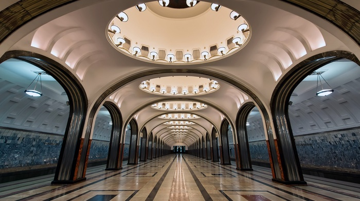 lights, arch, train station, Russia, circle, metro, symmetry, Moscow, tiles, architecture