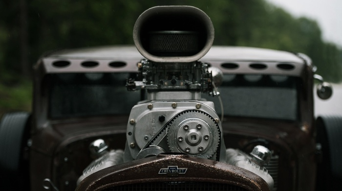 Chevrolet, wheels, depth of field, vehicle, Hot Rod, old car, engines, gears, oldtimers, closeup