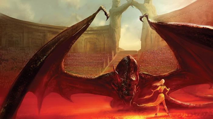 Game of Thrones, Daenerys Targaryen, fantasy art, dragon