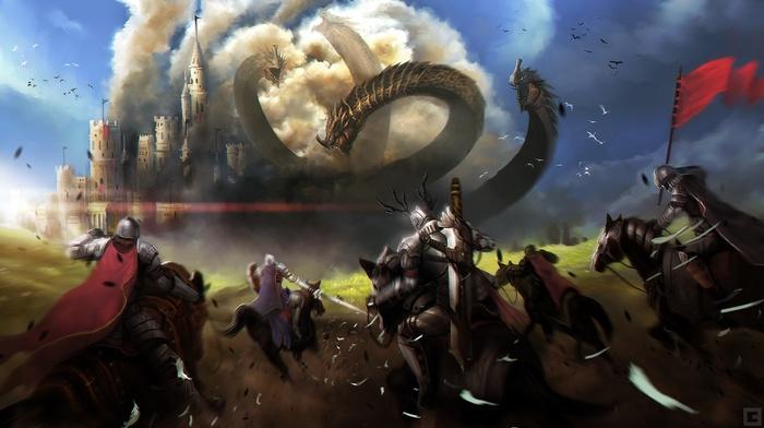 castle, knights, smoke, digital art, clouds, horse, dragon, drawing, birds, fantasy art, soldier, flag, battle, men