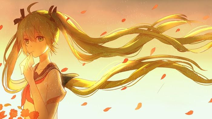 anime girls, Vocaloid, ribbon, flower petals, twintails, Hatsune Miku, anime, long hair, wind, flowers
