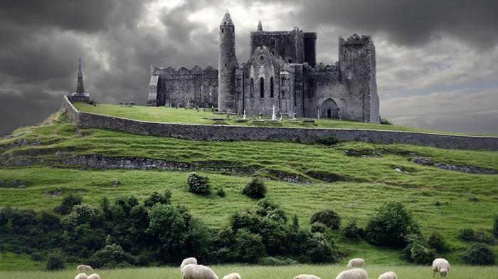 castle, ruins, church, landscape, castle