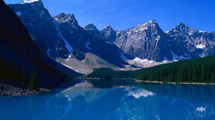 water, trees, landscape, nature, banff national park, mountain, moraine lake, Alberta, lake, forest, Canada, reflection