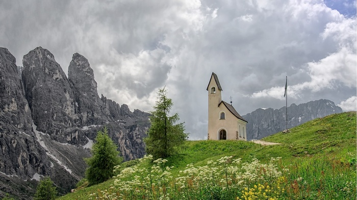 nature, church, landscape, snow, rock, mountain, field, clouds, flowers, trees